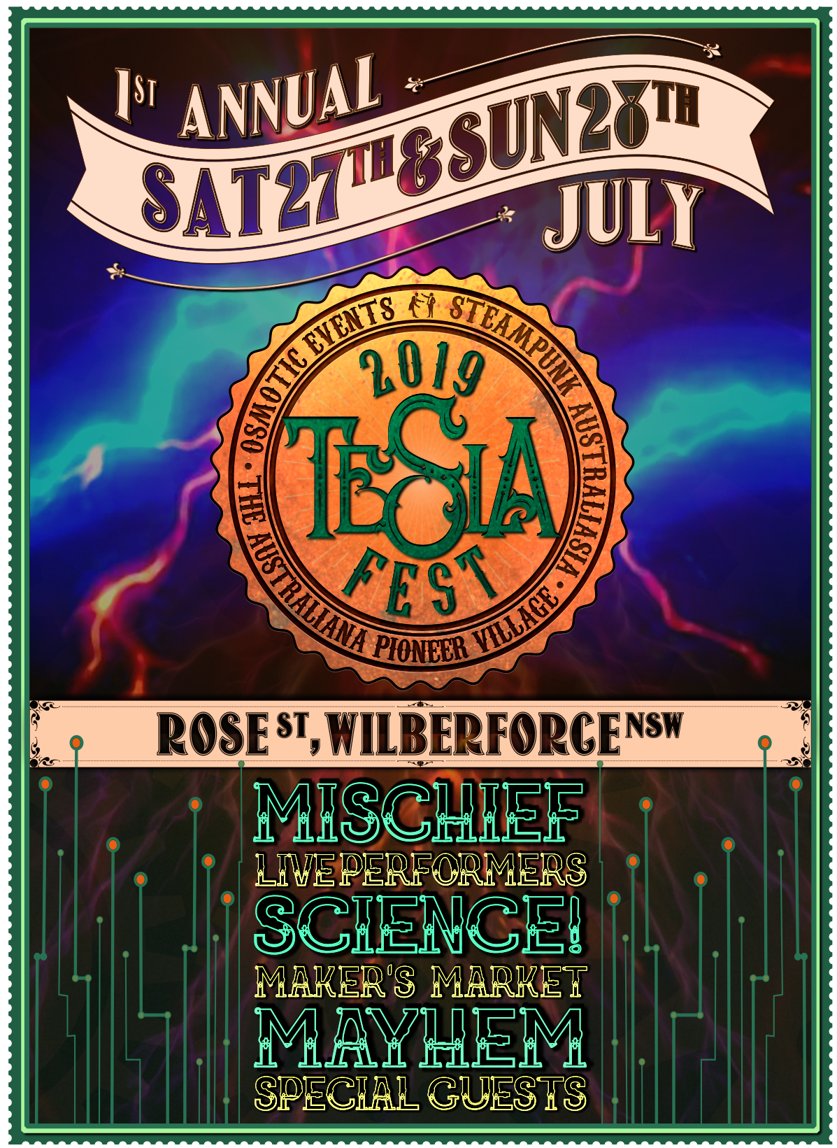 TeslaFest 2019 Announcement Poster Saturday 27th & Sunday 28th July